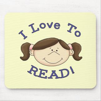 Amor del chica I para leer las camisetas y los reg Mouse Pads