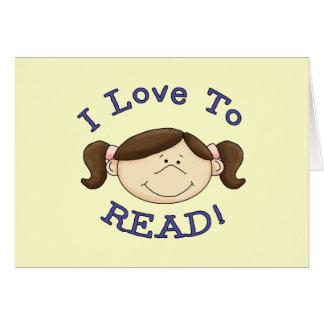 Amor del chica I para leer las camisetas y los reg Tarjeta De Felicitación