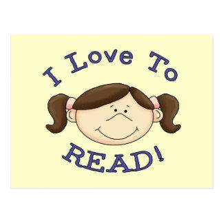 Amor del chica I para leer las camisetas y los reg Postal