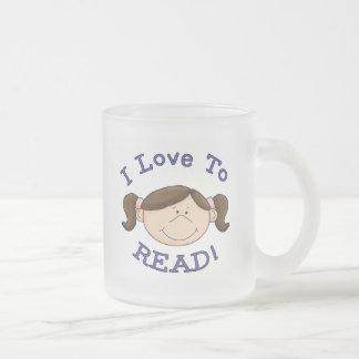 Amor del chica I para leer las camisetas y los reg Taza Cristal Mate