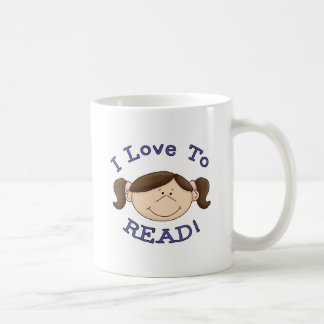 Amor del chica I para leer las camisetas y los reg Taza Básica Blanca