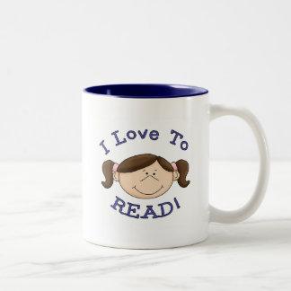 Amor del chica I para leer las camisetas y los reg Taza Dos Tonos
