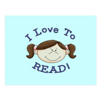 Amor del chica I para leer las camisetas y los Postales