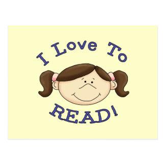 Amor del chica I para leer las camisetas y los Tarjeta Postal