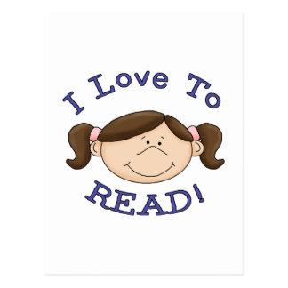 Amor del chica I para leer las camisetas y los Tarjetas Postales