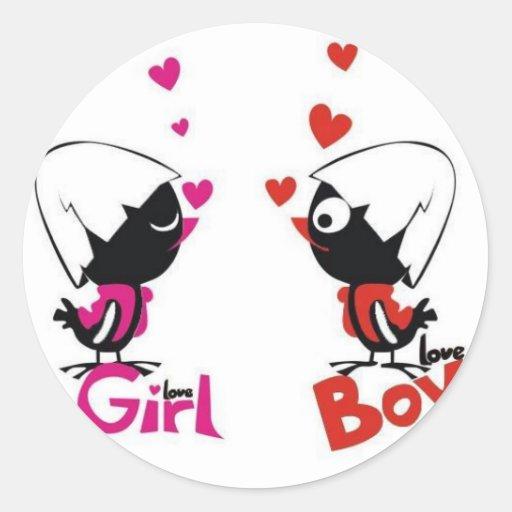 Amor del chica y del muchacho pegatina redonda