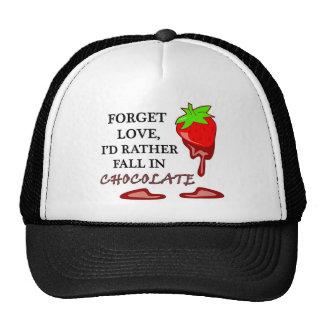 Amor del chocolate lleno gorras