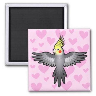 Amor del Cockatiel Imán Cuadrado