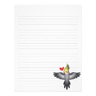 Amor del Cockatiel Plantilla De Membrete
