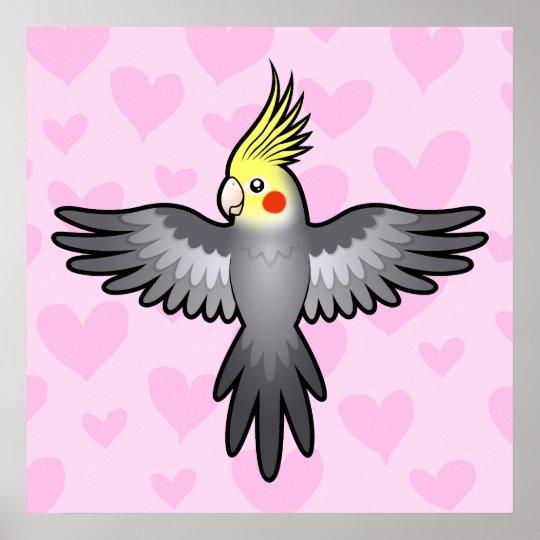Amor del Cockatiel Póster