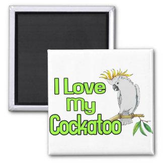 Amor del Cockatoo Imán Cuadrado