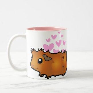 Amor del conejillo de Indias (desaliñado) Taza De Café De Dos Colores