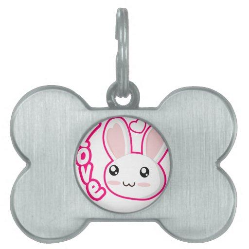 Amor del conejito - conejitos Chibi del conejo lin Placa De Nombre De Mascota