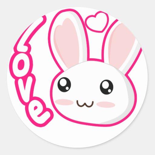 Amor del conejito - conejitos Chibi del conejo Etiquetas Redondas