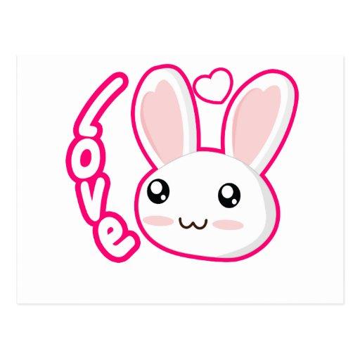 Amor del conejito - conejitos Chibi del conejo Tarjeta Postal