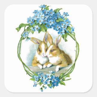 Amor del conejito pegatina cuadrada