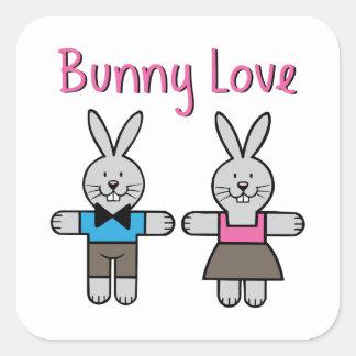 Amor del conejito pegatinas cuadradases personalizadas