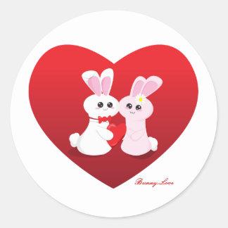 Amor del conejito pegatinas redondas