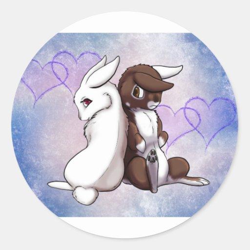 Amor del conejito pegatina redonda