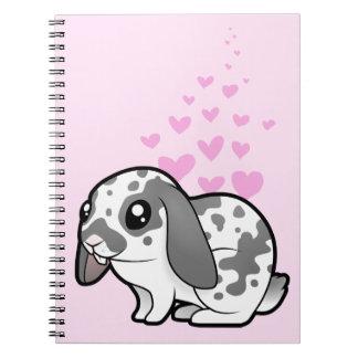 Amor del conejo (pelo liso del oído flojo) spiral notebook