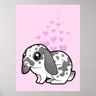 Amor del conejo (pelo liso del oído flojo) póster