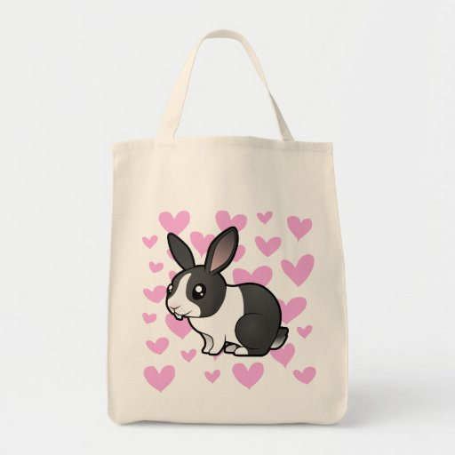 Amor del conejo (pelo liso del oído uppy) bolsa tela para la compra