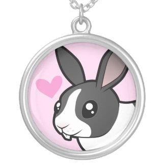 Amor del conejo (pelo liso del oído uppy) colgante redondo