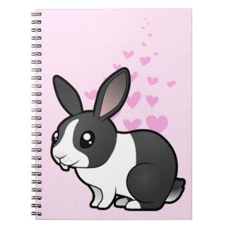 Amor del conejo (pelo liso del oído uppy) spiral notebooks