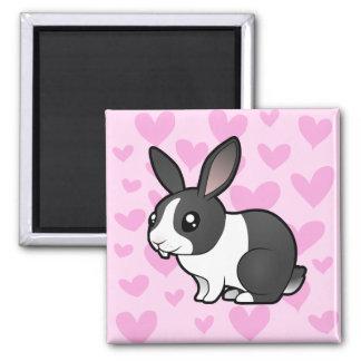 Amor del conejo (pelo liso del oído uppy) imán cuadrado