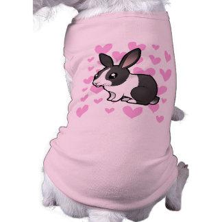 Amor del conejo (pelo liso del oído uppy) playera sin mangas para perro