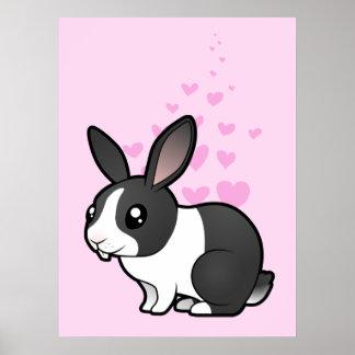 Amor del conejo (pelo liso del oído uppy) póster