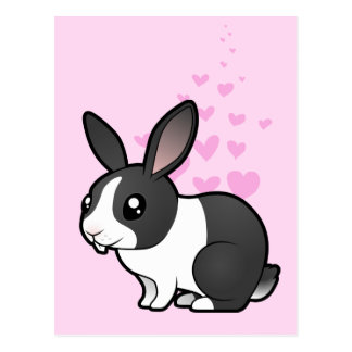 Amor del conejo (pelo liso del oído uppy) tarjetas postales