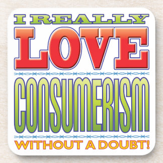 Amor del consumerismo posavasos de bebida