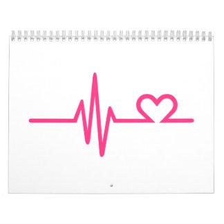 Amor del corazón de la frecuencia calendarios de pared