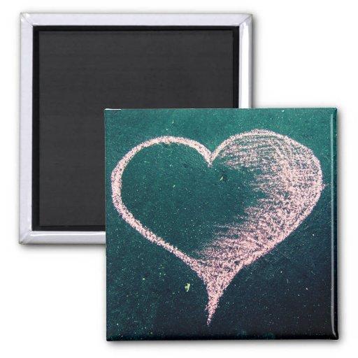 Amor del corazón de la tiza imán de frigorifico
