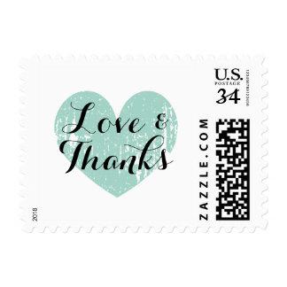 Amor del corazón del vintage de las azules sellos