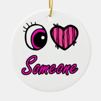 Amor del corazón I del ojo de Emo alguien Adorno Redondo De Cerámica