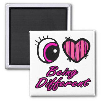 Amor del corazón I del ojo de Emo que es diferente Imán Cuadrado