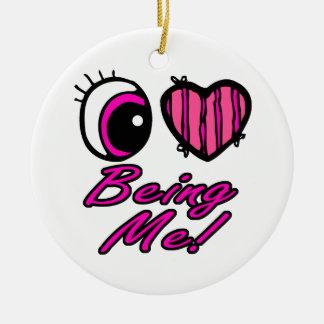 Amor del corazón I del ojo de Emo que es yo Adorno Redondo De Cerámica
