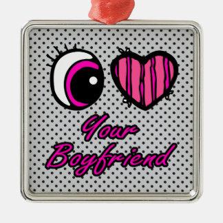 Amor del corazón I del ojo de Emo su novio Adorno Cuadrado Plateado