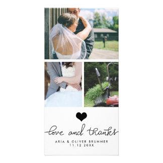 Amor del corazón y boda lindos de la tipografía de tarjetas con fotos personalizadas