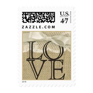 Amor del cordón y de la arpillera del vintage timbre postal