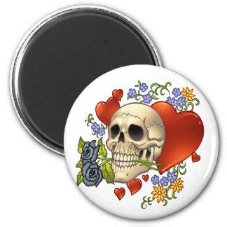Amor del cráneo - cráneos, rosas y corazones por e imán redondo 5 cm