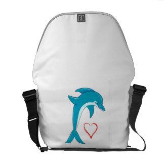 Amor del delfín bolsa de mensajería