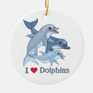 Amor del delfín adorno de navidad