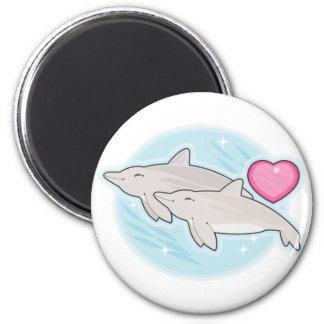 amor del delfín imán redondo 5 cm