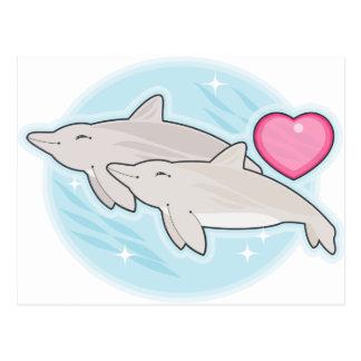 amor del delfín tarjeta postal