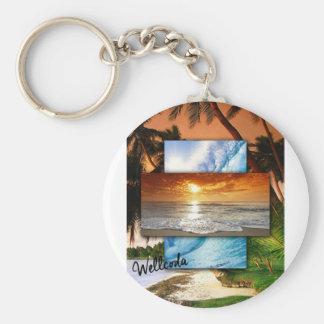 Amor del día de fiesta de la vida de la playa del llavero redondo tipo pin