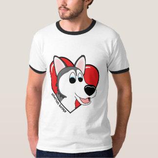 Amor del dibujo animado I mi husky siberiano Playera