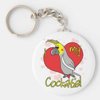 Amor del dibujo animado I mi llavero del Cockatiel
